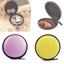 1pc Eva Headset Storage Bag For Earphone Headphone Mini Zipper Round Shape Multicolor Optional Glossy