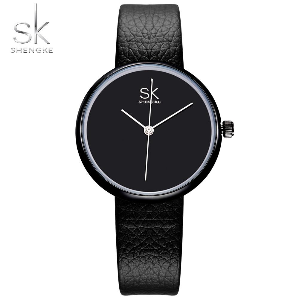 Shengke ساعات نسائية كوارتز ساعة أعلى ماركة الساعات جلد النساء ووتش السببية أسود أبيض بسيط اليد montre فام 2017