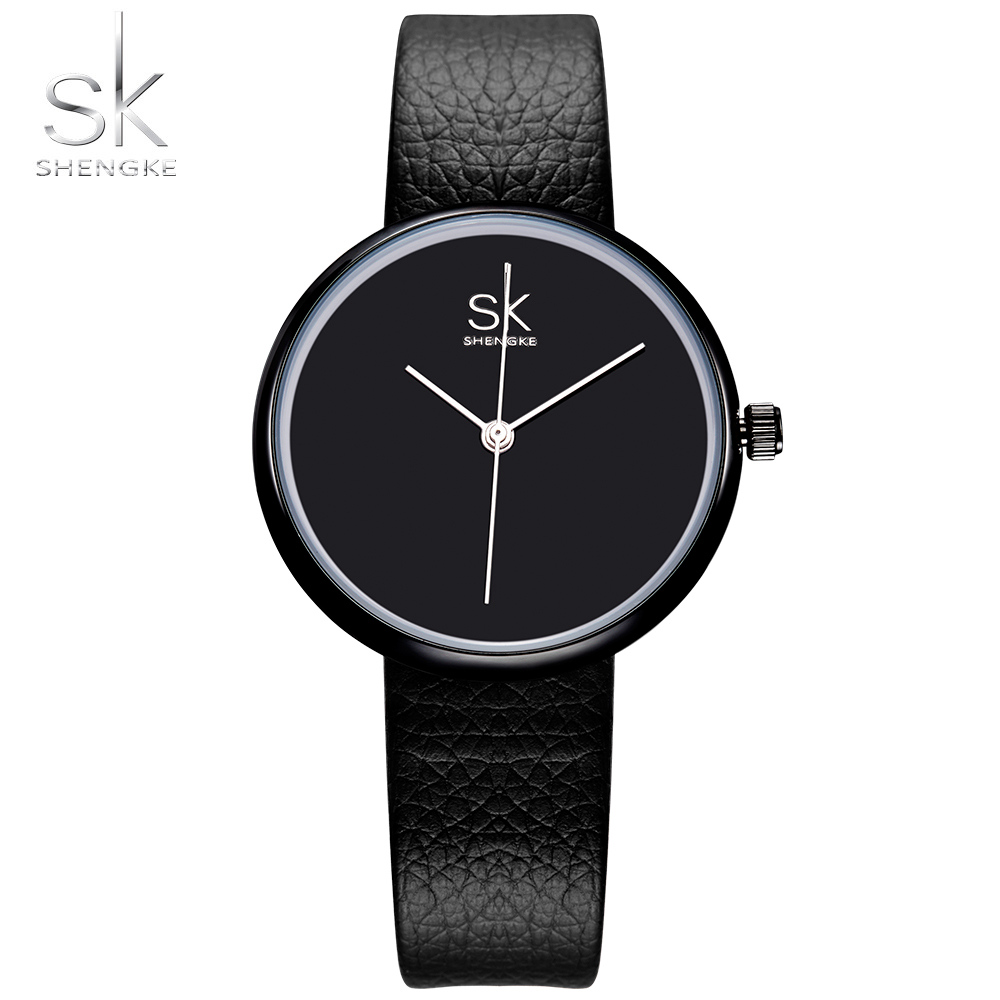 Shengke Klockor Kvinnor Quartz Klocka Top Märke Klockor Läder Kvinnor Watch Causal Black White Enkel Armbandsur Montre Femme 2017