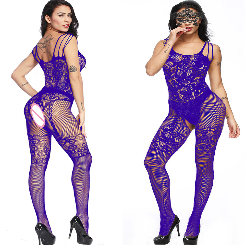 Womens Sexy Fishnet Bodystocking Open Crotch Body Suit Erotic Lingerie Latex Catsuit Blue Crotchless Underwear Costumes 192