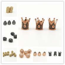 Wholesale Luxury Micro Cubic Zirconia Crown/Buddha/Ball/7mm Spacers Beads for Bracelet Making Jewelry Charm Brass Accessories