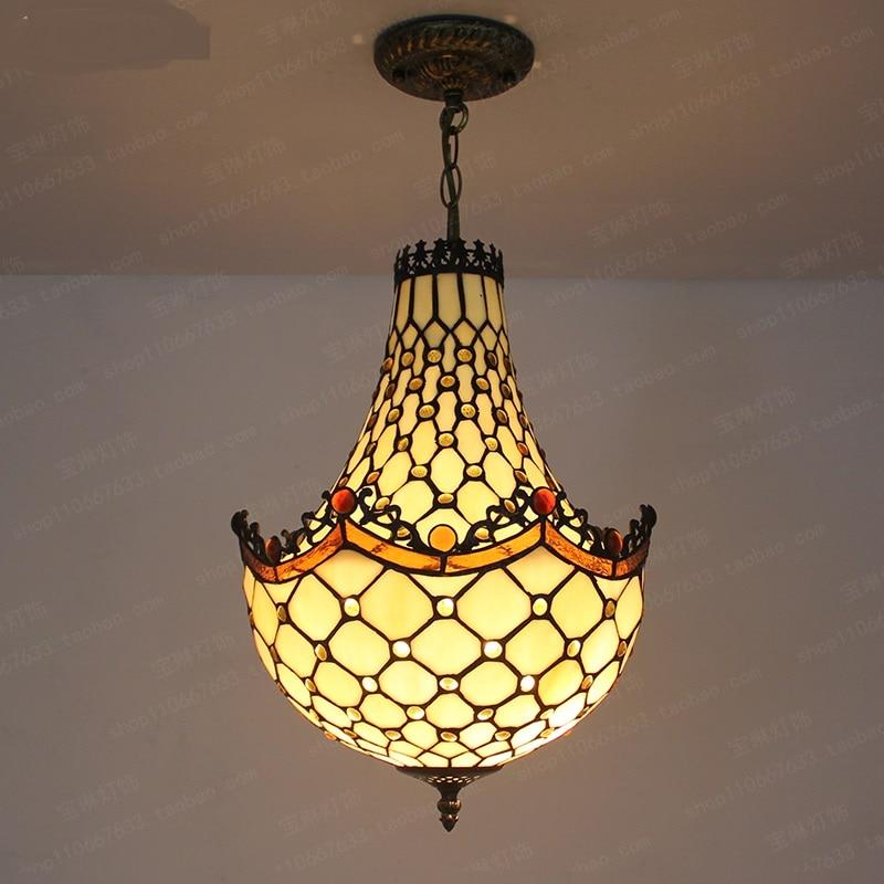 Tiffany LED restaurant dining room lighting pendant light cashier counter Bar Cafe corridor lamp creative living room DF5 lo1019