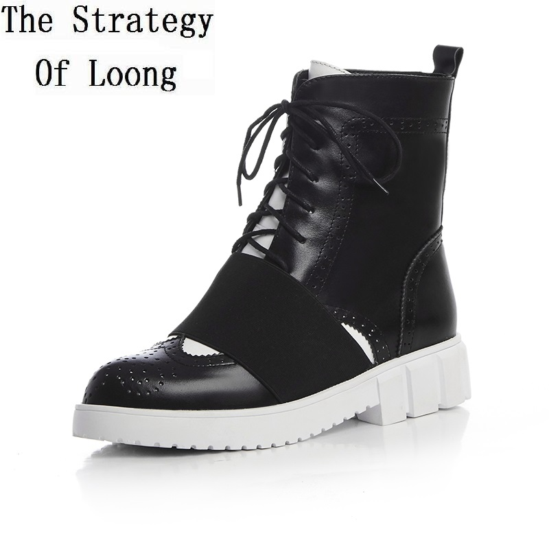 Woman Leisure Pointed Toe Lace Up Anti Skid Winter Boots Elastic Band Genuine Leather Short Plush High Top Chunky Boots ZY170829 woman genuine leather pointed toe flat with mid calf boots fashio zipper lace up dress boots short plush winer boots black