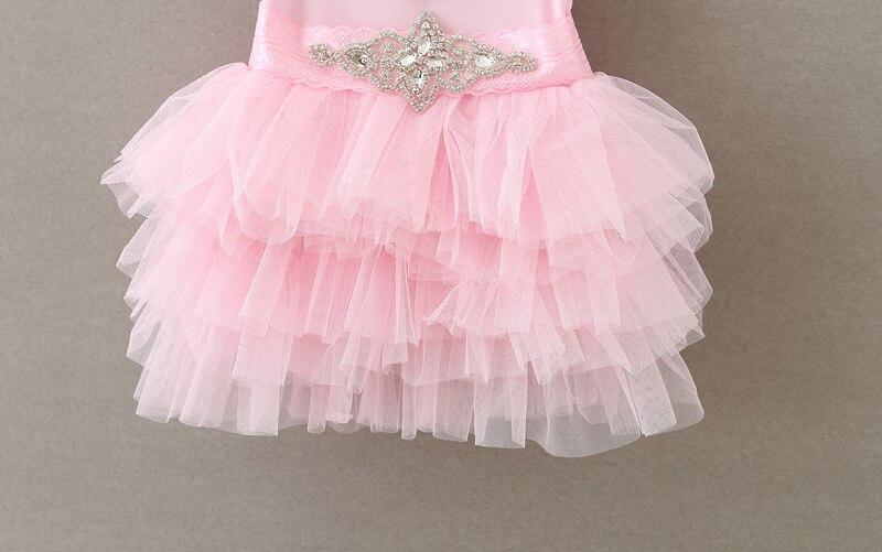 2017 Кружевное платье-пачка для маленьких девочек принцессы для девочек Сетчатое платье с алмазным поясом для малышей Для летних вечеринок п...