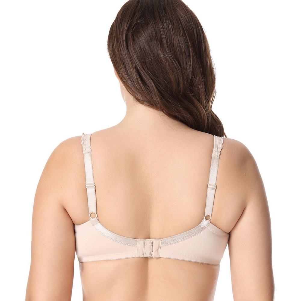 Women Non-padded Underwire Plus Size Full Coverage Embroidered Minimizer Bra 75 80 85 90 95 C D DD E F