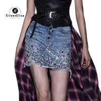Для женщин Мини юбка весна 2019 Сексуальная Bodycon повседневное Леди Бисер Модная Джинсовая юбка