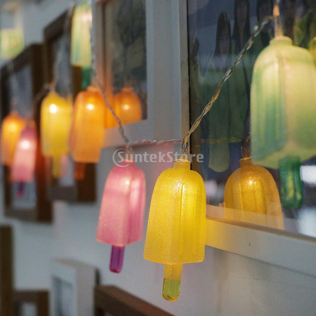 Ice Cream LED Bulbs String Light Battery Opetated Home Party Decor 165cm