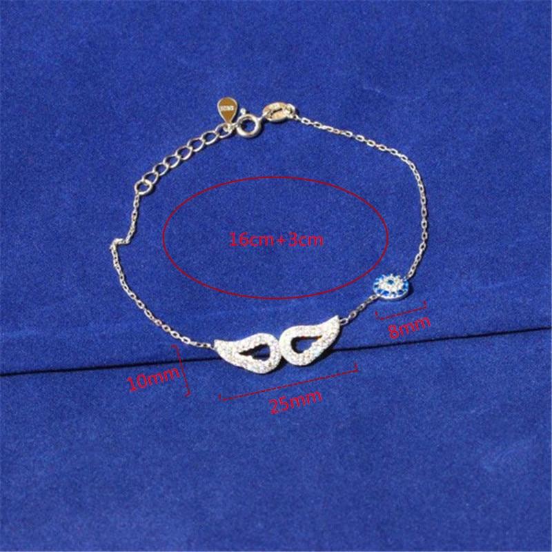 100% 925 Sterling Silver Mulheres Barcelets com Asas de Anjo Brilhante Pequeno Zircon Bangles Pulseira para As Mulheres Da Moda Jóias Zircão