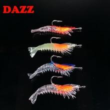 4pcs/Bag 3g/6cm Silicone Soft shrimp Fishing Lure With Hook Noctilucence Artifical Shrimp Bait DAZZ