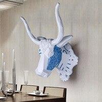 Ealisen настенный синий и белый бык голова трофей Wall Art Доска Охота скульптура искусственного таксидермия современные висит дома декор