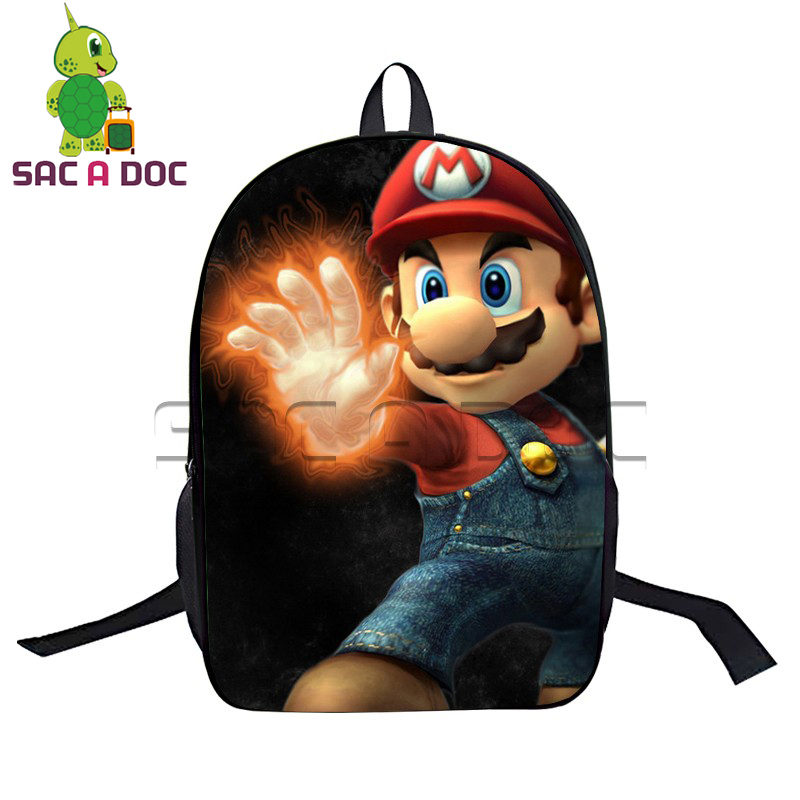 4a562d8ab5f2 Cartoon Super Mario Backpack School Backpack Kids Boys Girls School Bags  Womens Mens Mario Printing Laptop