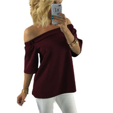 European and American style slash neck shirt women fashion sexy pullover tees pure color half length sleeve backless tops E201