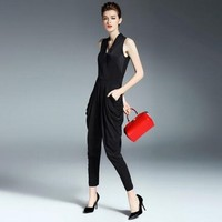 2017 Fashion Sexy Jumpsuits Office Lady Party Overalls Sleeveless V neck Rompers Summer Silk Elegant Black Bodysuit