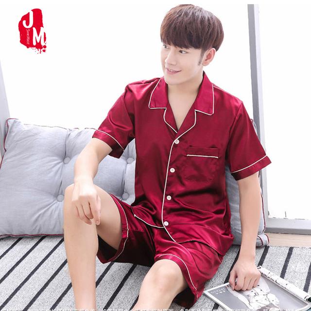 2018 Summer Satin Men Pajama Sets Silk Sleepwear Men Suit Solid Pyjama Male Short Silk Men's Pajamas Sleepwears Men's Set Short