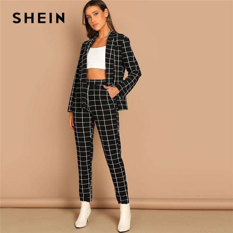 SHEIN Black Stretchy Grid Print Shawl Collar Plaid Long Sleeve Blazer Pants Set Women Autumn Workwear Morden Lady Twopiece
