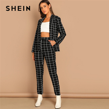 SHEIN สีดำยืดพิมพ์ตารางผ้าคลุมไหล่ลายสก๊อตเสื้อแขนยาวกางเกงชุดฤดูใบไม้ร่วง Workwear Morden Lady Twopiece