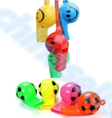 200pcs Colorful Soccer Funny Face Kid Fans Whistle Cheerleading Children Whistle Foodball Soccer Ball Whistles With Rope