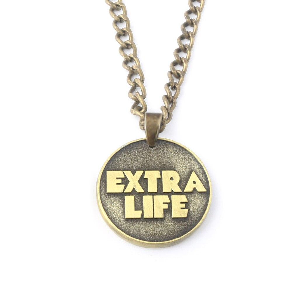 SG New Antique Bronze Game Ready Player One EXTRA LIFE Coin Necklaces Pendants Bitcoin Choker Necklace Women Men Souvenir Gift