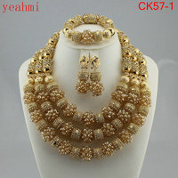 Amazing african beads jewelry set chain women Nigerian wedding crystal multi layer necklace/ earring Indian jewelry sets CK57 1