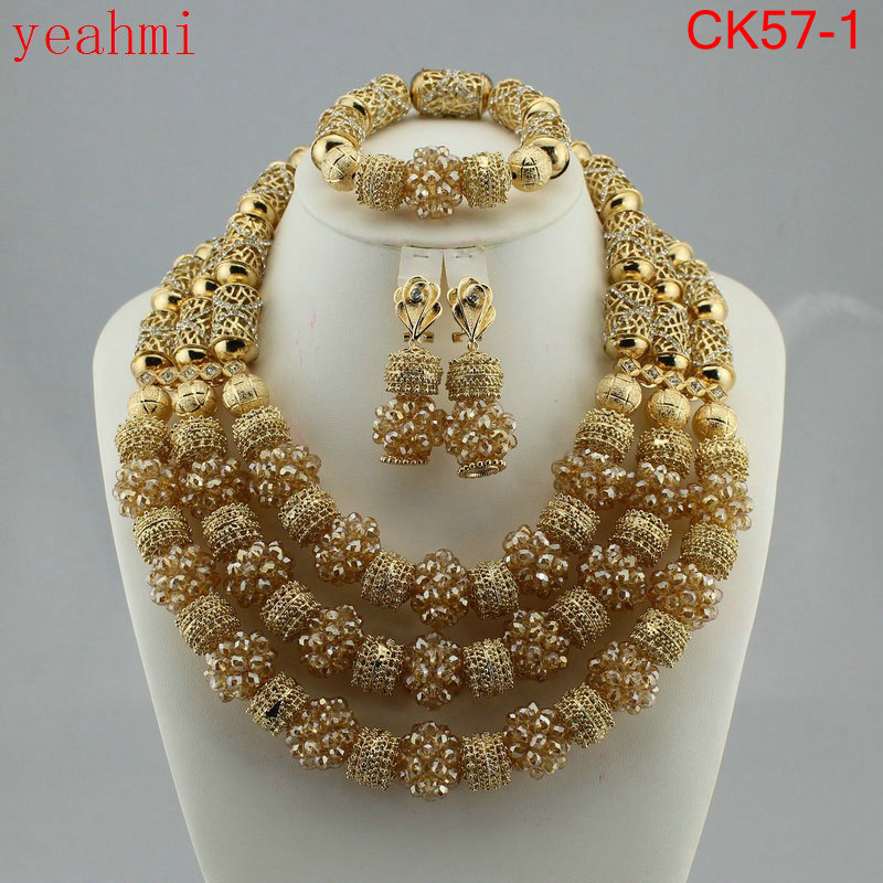 Amazing african beads jewelry set chain women Nigerian wedding crystal multi layer necklace/ earring Indian jewelry sets CK57-1