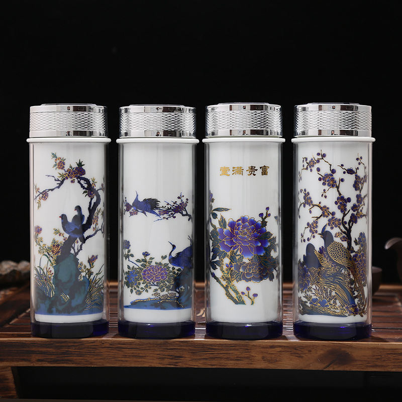 Creative Ceramic Color-changing Vacuum Flasks Mug,Chinese Business Vacuum Flasks Cup,Double Liner Tea Cup Fashionable Drinkware