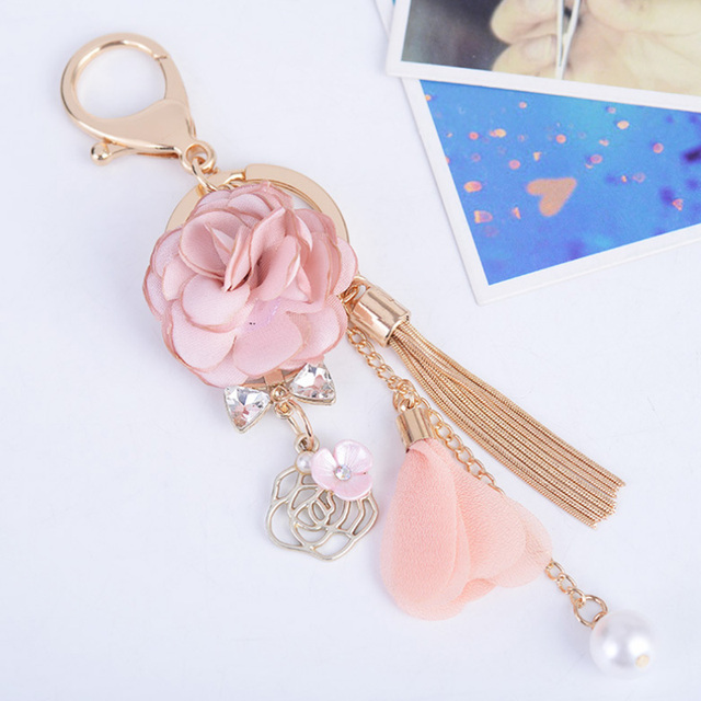 2017 New Rose Flowers Keychain Key Chain Gold Color Crystal Bow Chain Tassel Key