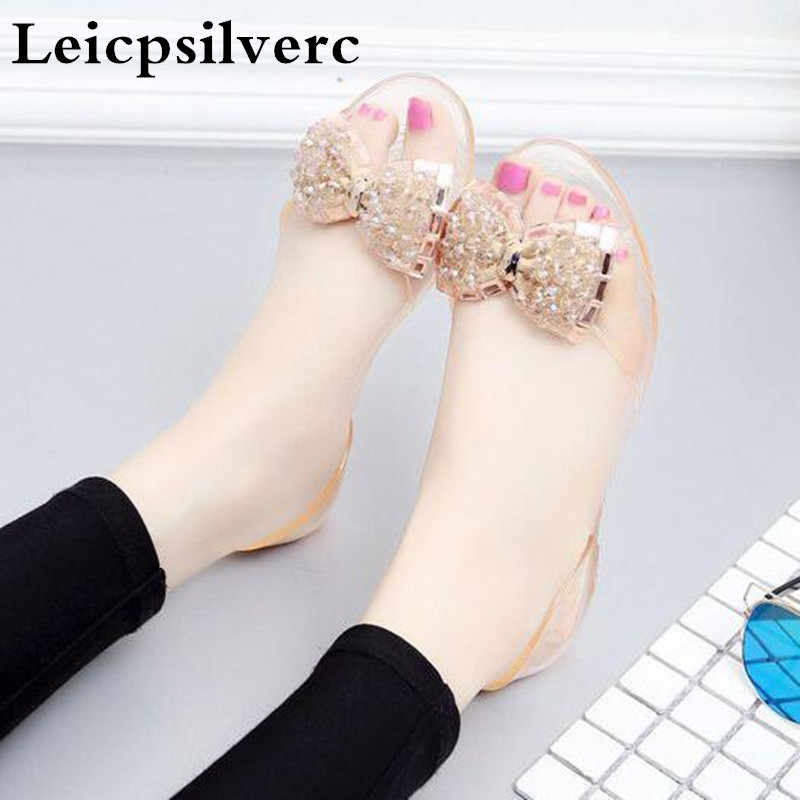 e12bcbf2b Summer new crystal women s sandals flat bottomed water drill bow tie beach  jelly women shoes