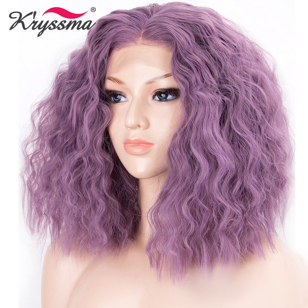 Purple Curly Wig Short Bob Synthetic Lace Front Wig 13*2.5 inches Middle Part Wigs for Women Heat Resistant Fiber for Helloween