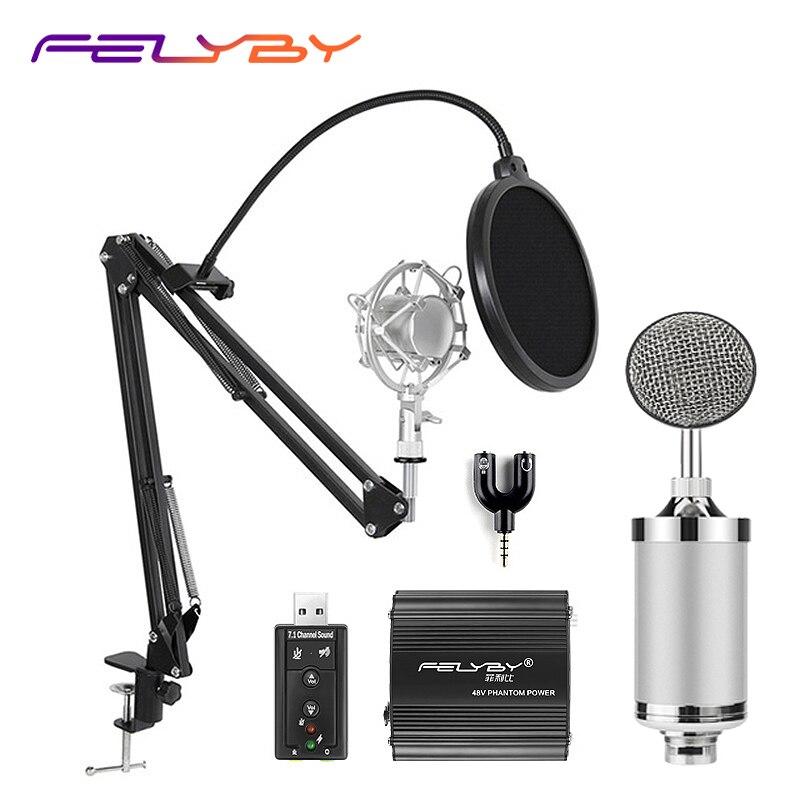 FELYBY professzionális NP800 kondenzátor mikrofon számítógép - Hordozható audió és videó