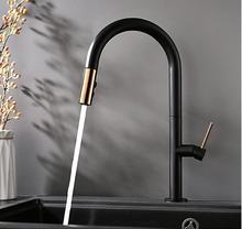 цена на Black copper plating pumping faucet kitchen dishwash basin sink cold and hot mixing faucet free shipping