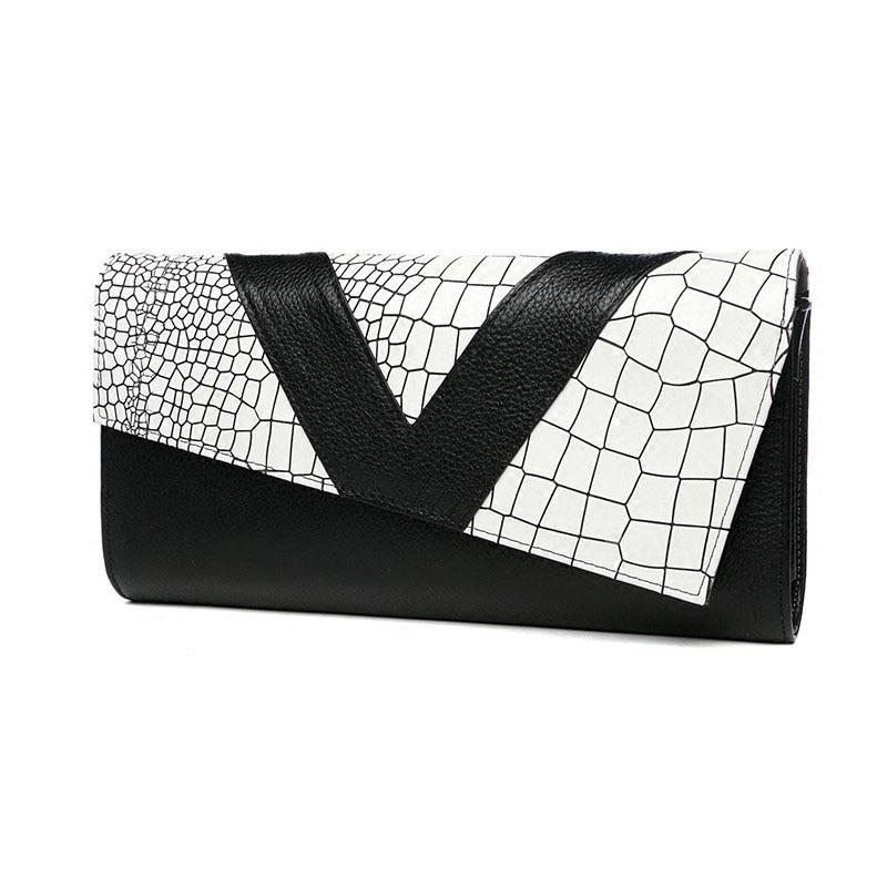 Crocodile Pattern Cowhide Genuine Leather Women Envelope Handbag Day Clutches Shoulder Messenger Ladies Hand Bag Crossbody Bag