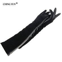 CHING YUN kış bayan moda koyun derisi deri eldiven kadınlar hakiki deri eldivenler kadın süet deri uzun eldiven 2018