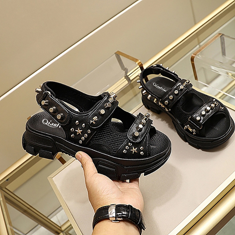 Rivets Shoes Shoes Women Platform Sandals zapatos de mujer Brand Beach Metal Decoration chaussures femme Chunky sandalias mujer