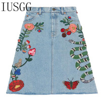 IUSGG Brand Autumn Snake Butterfly Embroidery Denim Skirts Female Brand Designer Skirts Women S Runway Skirts