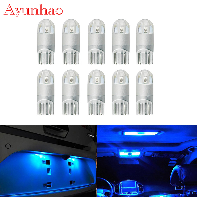 10PCS Extremely Bright Blue T10 194 168 3030 Wedge 2SMD LED Bulbs For License Plate Lights,Interior Map Lights,Dome Lights DC12V