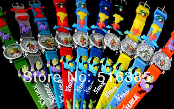 10pcs Hot 3D Cartoon baseball Design Analog Watch Children Kids Girls Boys Students fashion Quartz Wristwatches Relogio clock analog watch