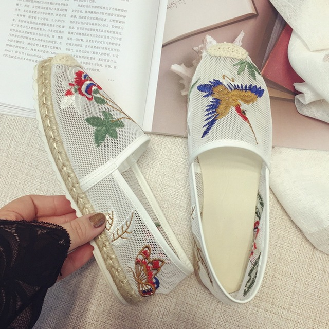 LALA IKAI Espadrille women Mesh flats shoes with flower bird embroidery Loafers summer Breathable causal Slip-On shoes XWA0581