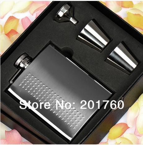 Blasting quality goods thickening 304 stainless steel hip flask with portable 8 oz of tangerine gift box wine set free shipping