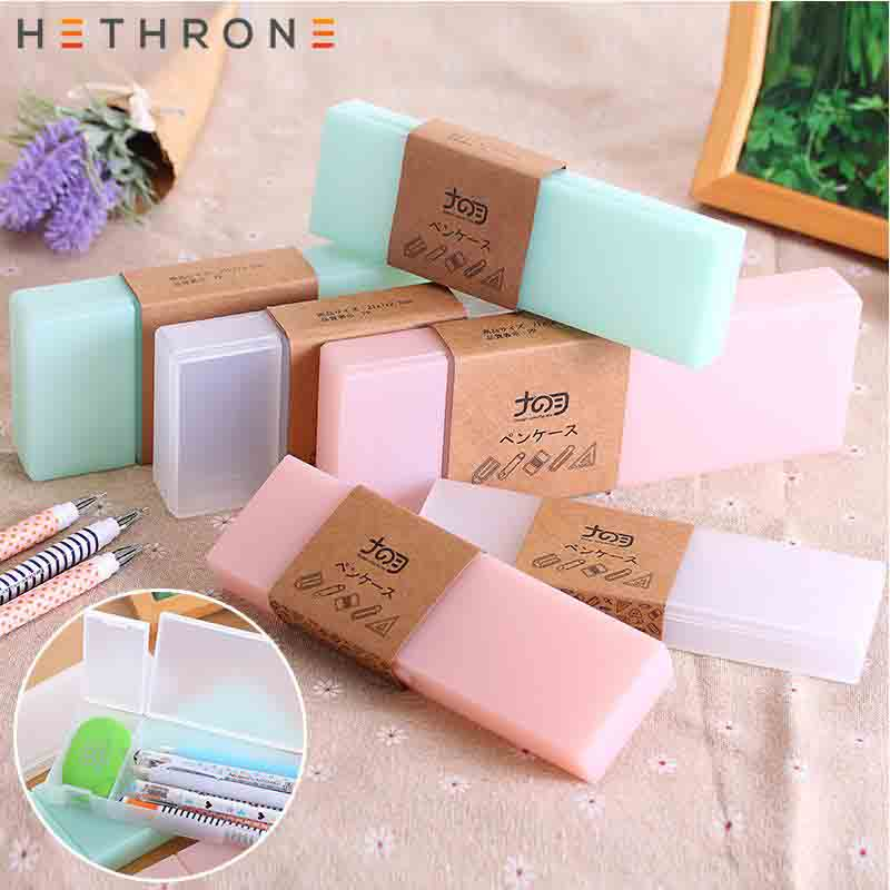 Hethrone NEW Kawaii Multifunction Pen Box Plastic Matte Design Storage Pouch Korea Stationery School Portable Cosmetic Case Etui