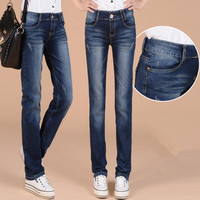 Plus de Terciopelo Grueso Mujeres Straight Denim Jeans Pantalones Casual Pantalones de las Nuevas mujeres de Invierno Ropa de Los Pantalones de Mezclilla Azul Jeans ESCOTADA de