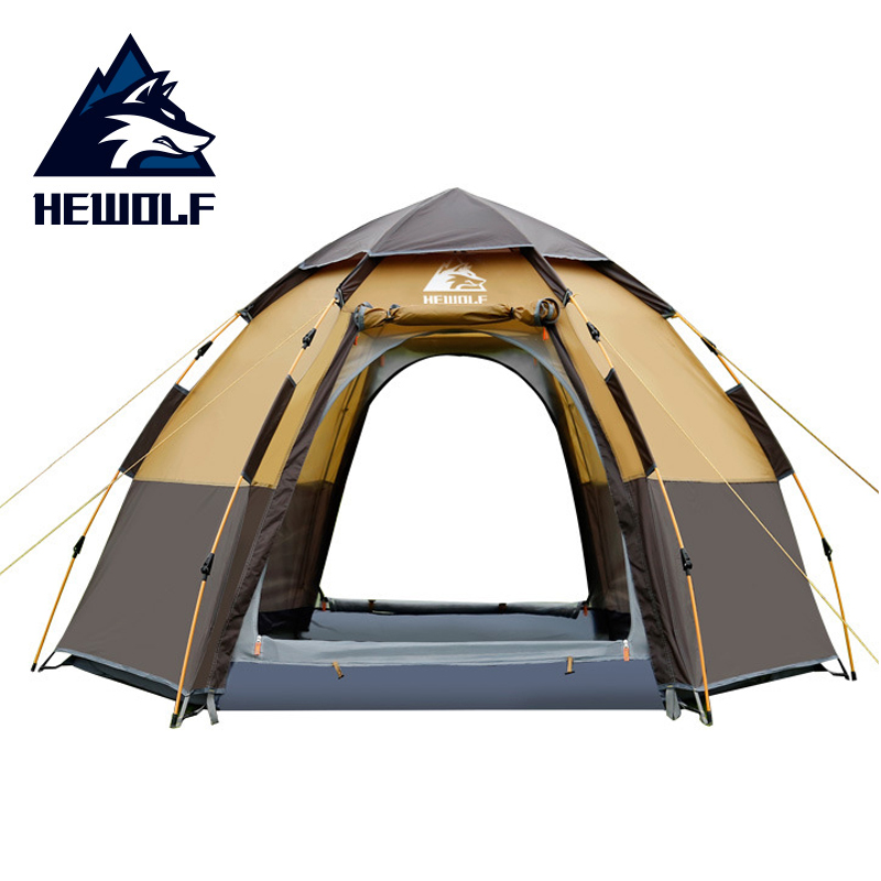 Hewolf Quick Automatic Open Tent 5 Person Double Layer Large Camping Family For Outdoor Recreation Party Tents Awning Beach Tent