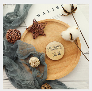 Image 5 - Diameter 4~7cm Wooden Round Piece Heart shaped Leaf Hello Loved Cool Special Carving Art Drawing Photography Accessories Props