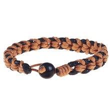 цена на Hemp Rope Braided Bracelet for Women Men Simple DIY Handmade Rope Weaved Bracelets Bangles With Wood Beads Best Friend Gifts