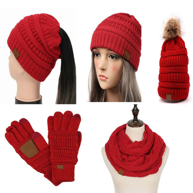 3d512415 Woman Winter Hat Beanie CC labeling Faux Fur Pom Pom Ball Knitted Scarf Ski  Gloves Solid Color Skullies Beanie For Women Cap