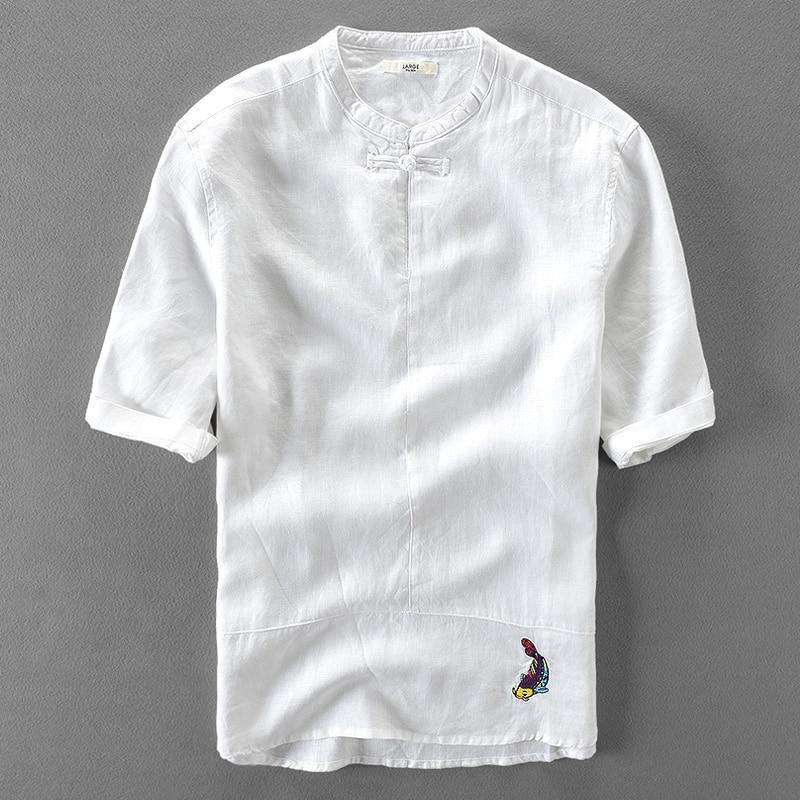 New designer embroidery linen shirts men short sleeve for Mens short sleeve linen dress shirts