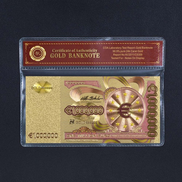 One Million Euro Gold Banknote Luxury 999 24k Gold Note Collectible