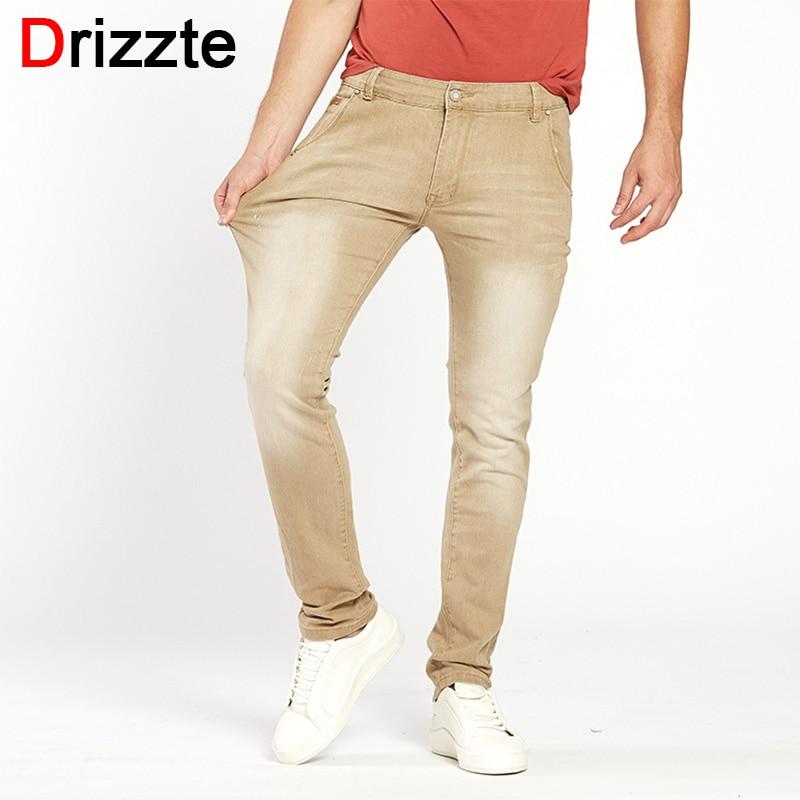 цена Drizzte Casual Khaki Stretch Jeans Mens Denim Jeans for Men Slim Wash White Jean Pants Trousers Man онлайн в 2017 году