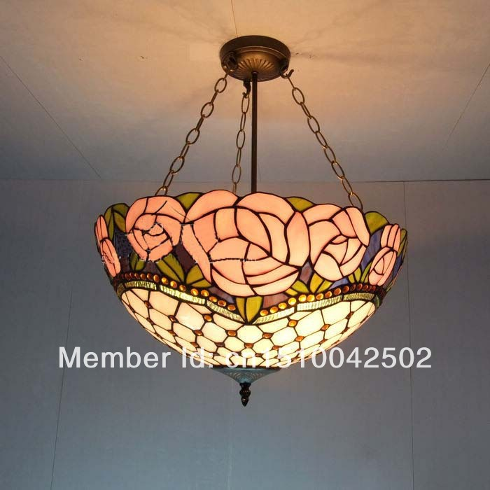 Tiffany stained glass chandelier European-style  living room bedroom lamp Rose Gypsophila decorative suspension lights  tiffany suspension lamp art stained glass rose lamp living room restaurant european style tiffany pendant lights