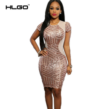 Summer Autumn Sexy glitter Dress Sequined Clubwear Partywear Bodycon One-piece Shine Dress Short Sleeves Womens Dress Evening