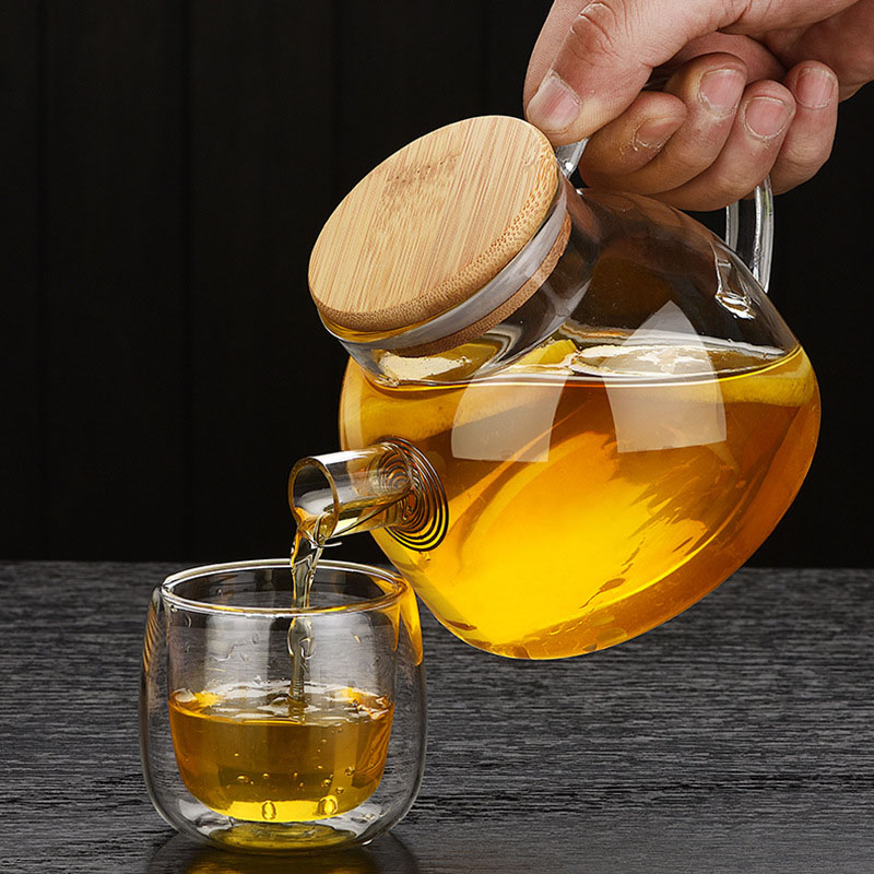 Chinese Style Heat Resistant Glass Tea Infuser Pot With Wood Cover Kung Fu Flower Tea Puer Kettle Coffee Cup Office Teapot Set